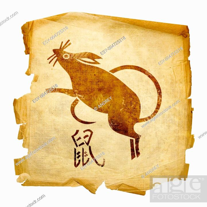 Stock Photo: Rat Zodiac icon, isolated on white background.