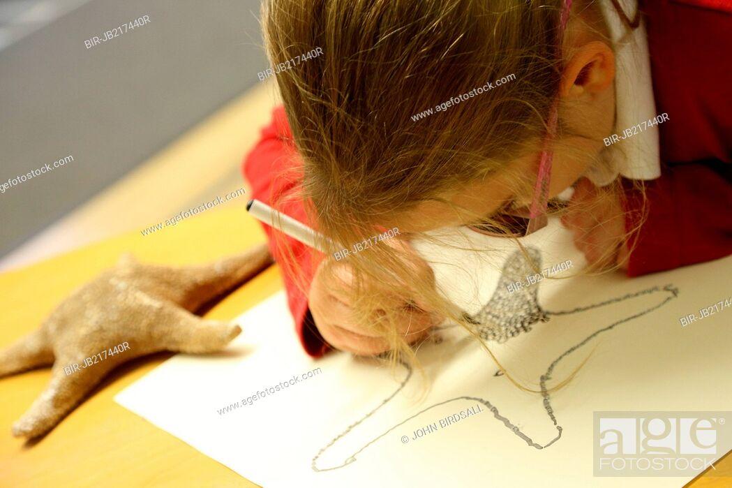 Stock Photo: Girl decorating shell drawing using xxxx raised technique, Mysight Nottingham.