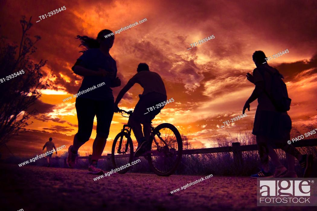 Stock Photo: Silhouettes of people doing sports in Marseille, France.