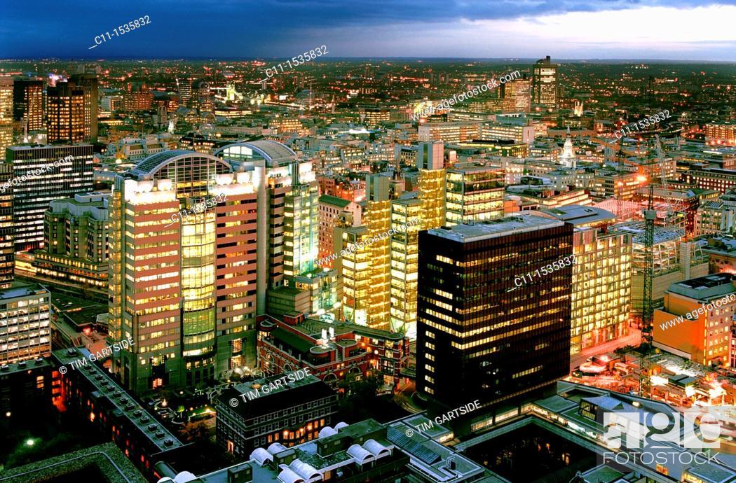 Stock Photo: london panoramic night view barbican england uk.