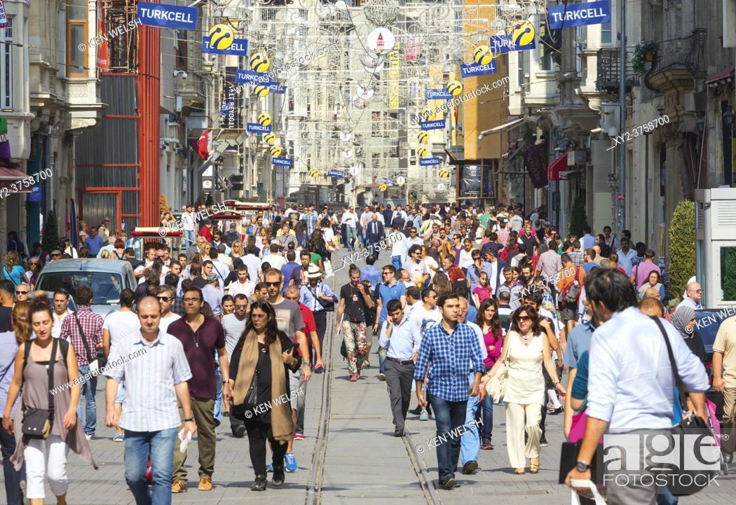 Stock Photo: Istanbul, Turkey. Istiklal Caddesi. Istiklal Street is one of Istanbul's main shopping streets.