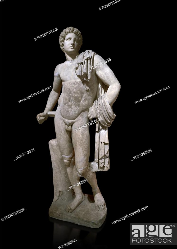 Stock Photo: Roman statue of Apollo . Marble. Perge. 2nd century AD. Antalya Archaeology Museum; Turkey. Against a black background.