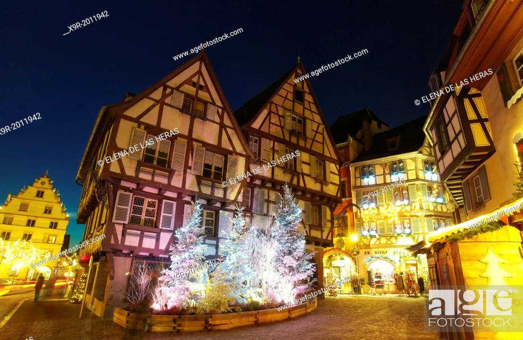 Stock Photo: Christmas lights at the city center by night. Colmar. Wine route. Haut-Rhin. Alsace. France.