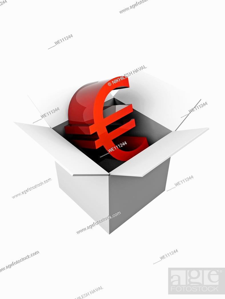 Stock Photo: Grey open box Euro currency.