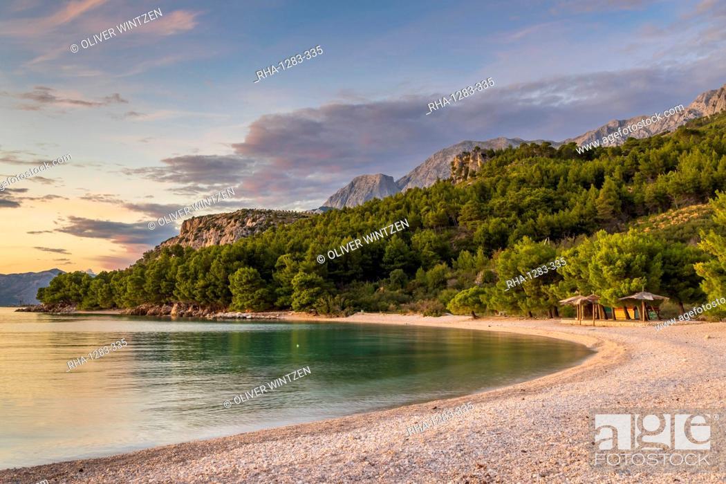 Stock Photo: The Cvitacka beach near Makarska at sundown, Croatia, Europe.