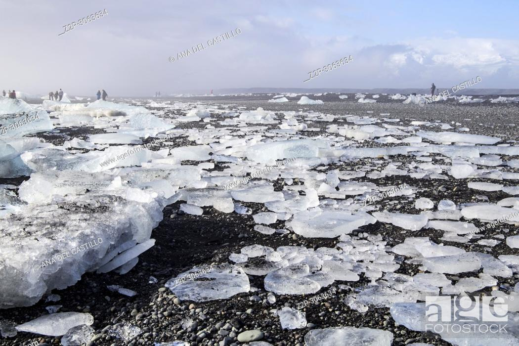 Stock Photo: Sunrise over famous diamond beach Iceland this sand lava beach.
