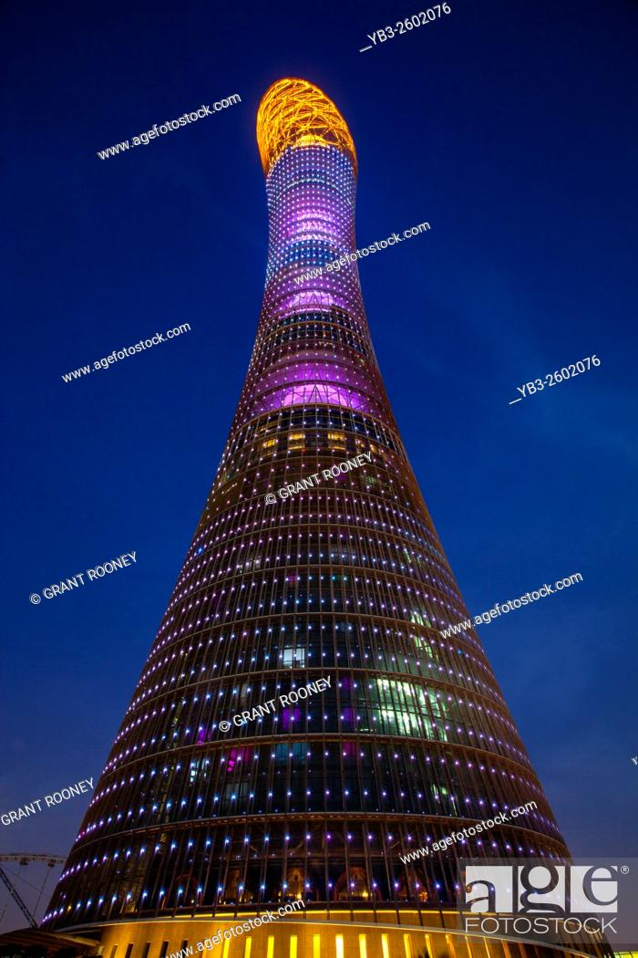 Stock Photo: The Aspire Tower (The Torch Doha) Building, Doha, Qatar.