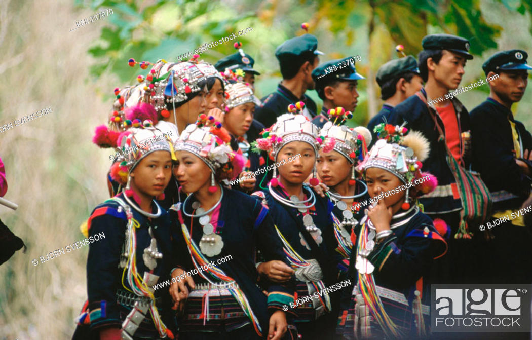 Stock Photo: Akha girls and boys with traditional costumes near Muang Sing. North Laos.