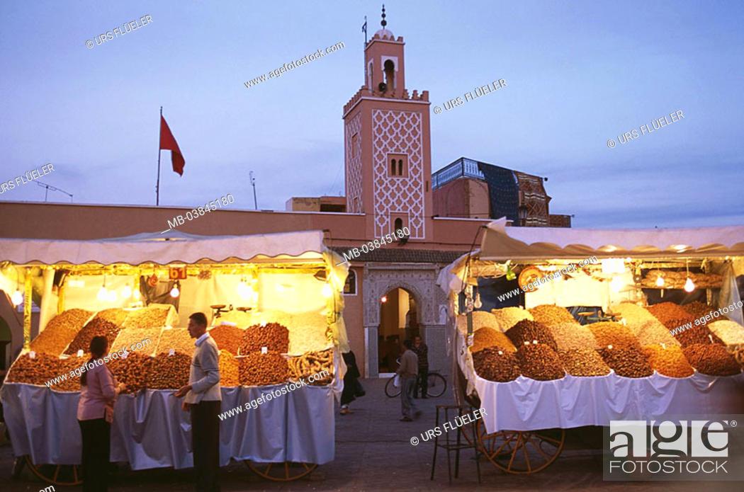 Stock Photo: Morocco, Marrakesch, Jema El Fna, mosque, market place, booths, twilight, Medina, Jemaa-El-Fna-Platz, buildings, construction, minaret, forecourt, market-stands.