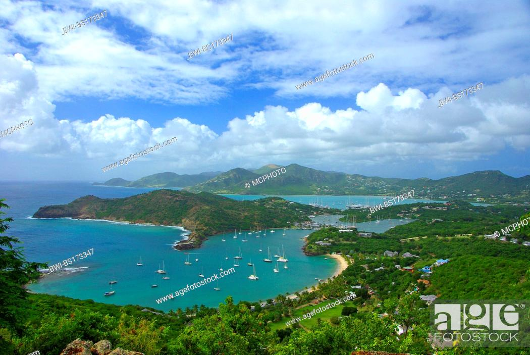Stock Photo: Leewards Island; Leeward Inseln; Shirley Heights; English Harbour; Falmouth Harbour, Antigua and Barbuda, Caribbean Sea.