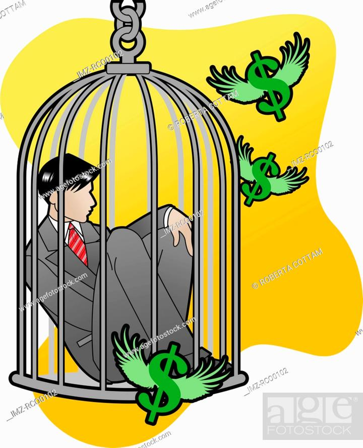 Stock Photo: A businessman stuck in a bird cage with money flying around.