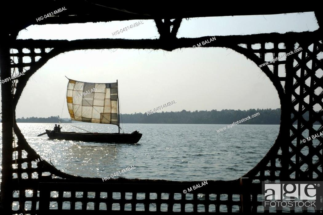 Stock Photo: VIEW OF ASHTAMUDI LAKE FROM HOUSE BOAT, KOLLAM.