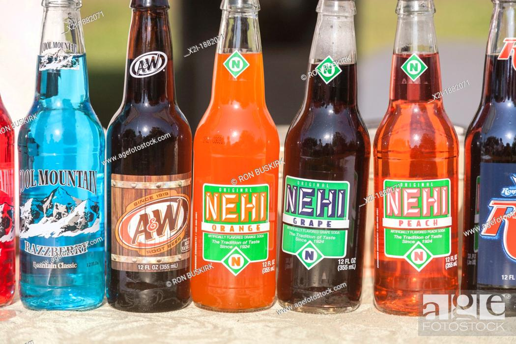 Stock Photo: Bottles of classic Nehi, Cool Mountain, and A&W flavored soda soft drinks.
