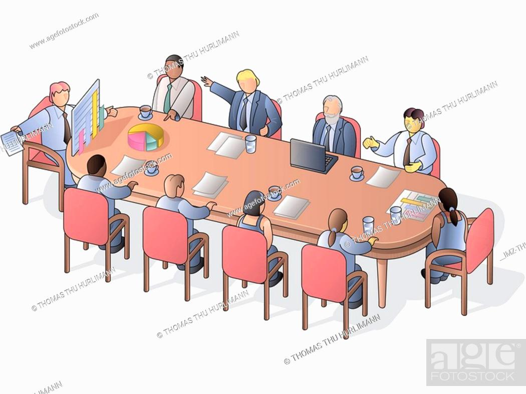 Stock Photo: A board meeting conducted in a conference room.