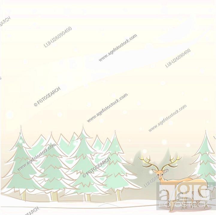 Stock Photo: foreset, season, snowing, snow, winter, tree, background.