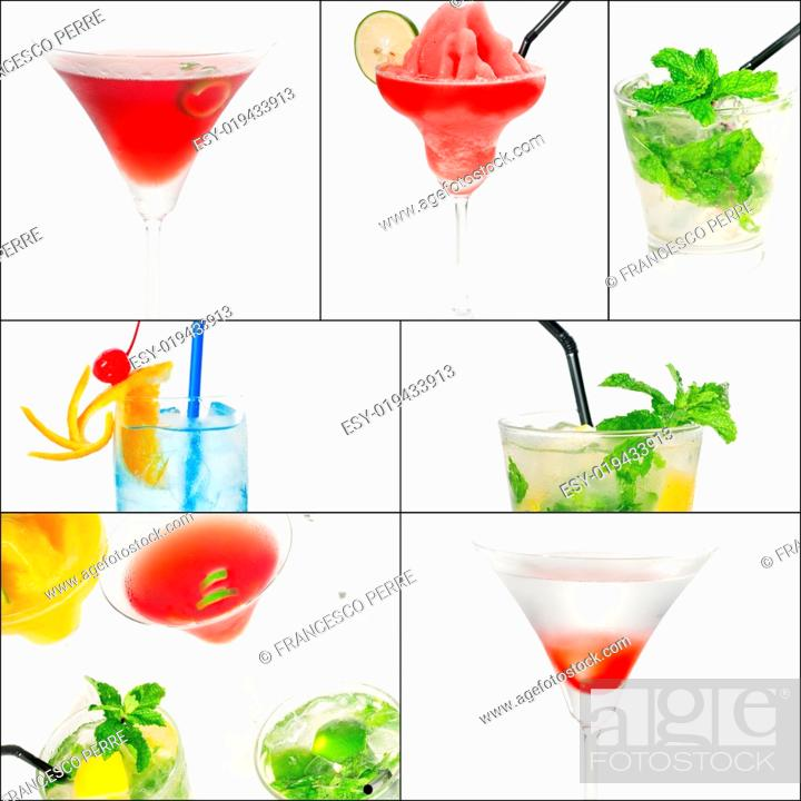 Stock Photo: selection of cocktails drinks collage composition nested on a square frame.