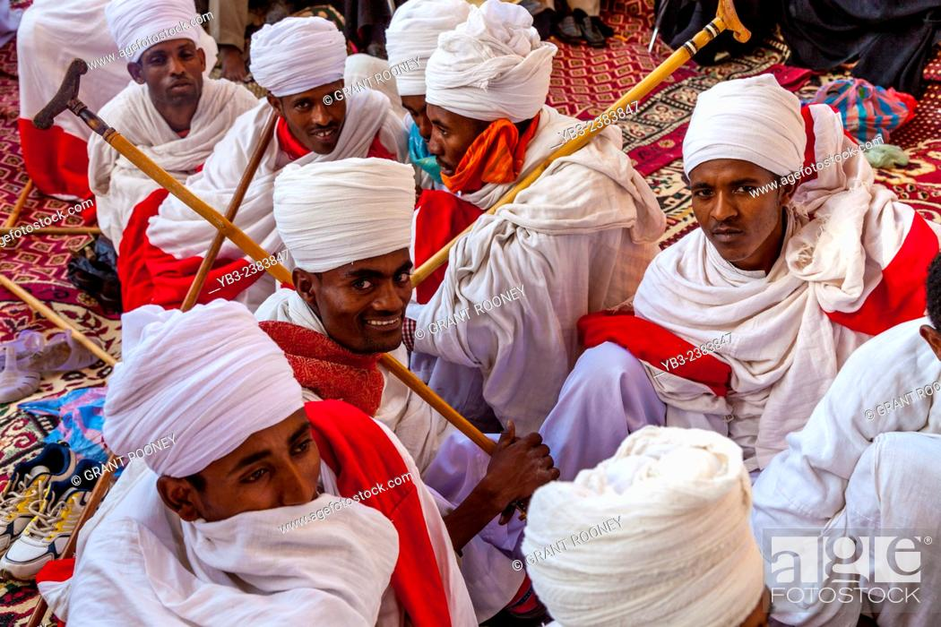 Stock Photo: Church Priests and Deacons Taking Part In The Christmas Day Celebrations At Beite Maryam Church, Lalibela, Ethiopia.