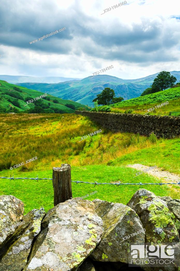 Stock Photo: View south from slopes of the Aira Beck valley near Dockray towards St Sunday Crag in the Lake District, Cumbria, England.