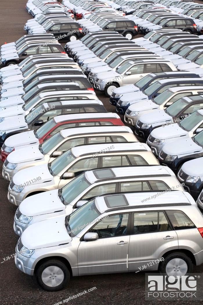 Stock Photo: New Suzuki cars in customs area in Hamina Finland.