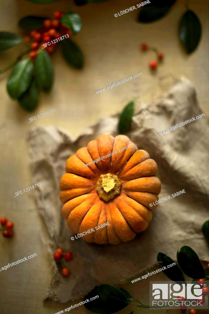 Stock Photo: A whole Muscat pumpkin with berries on a linen cloth (top view).