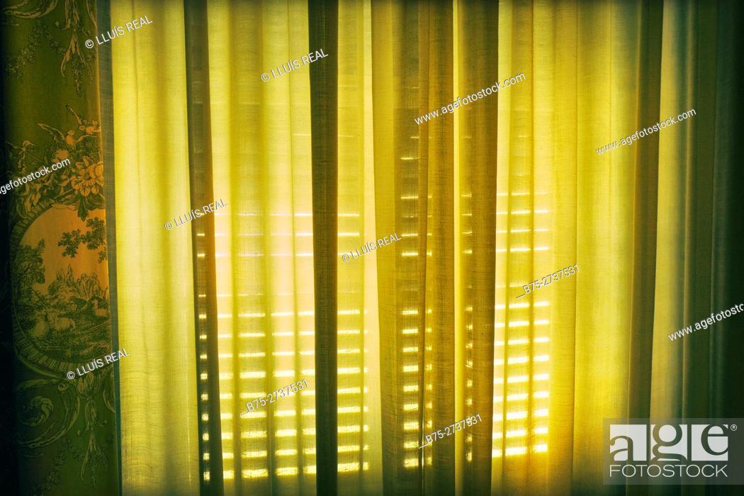 Photo de stock: Close up of a closed window with curtain. Mahon, Minorca, Balearic Islands, Spain.