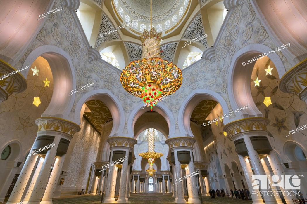 Stock Photo: Sheikh Zayed Grand Mosque, Abu Dhabi City, Emirate of Abu Dhabi, Persian Gulf, United Arab Emirates, UAE, The Middle East.