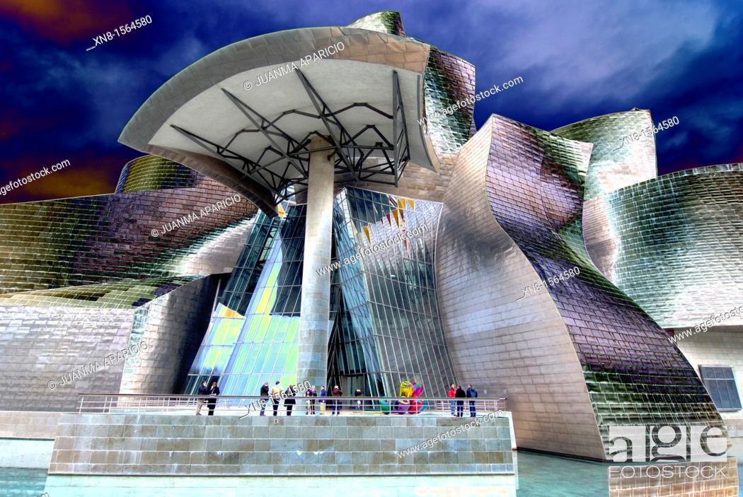 Stock Photo: Horizontal image of the Guggenheim Museum Bilbao digitally altered.