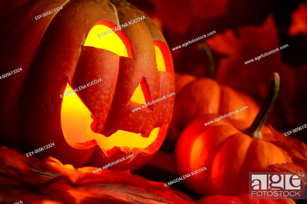 Stock Photo: Pumkin head and small pumpkins on colorful leave.