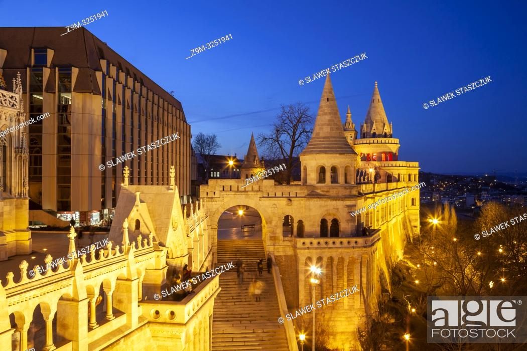 Stock Photo: Evening at the Fishermen's Bastion in Budapest, Hungary.