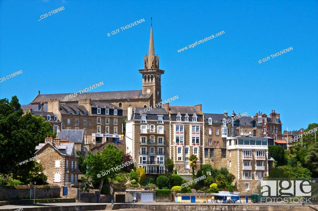 Stock Photo: Promenade du Clair de Lune, along the sea, and church and church steeple, with granite typical houses, Dinard, Brittany, Ille et Villaine 35, France.