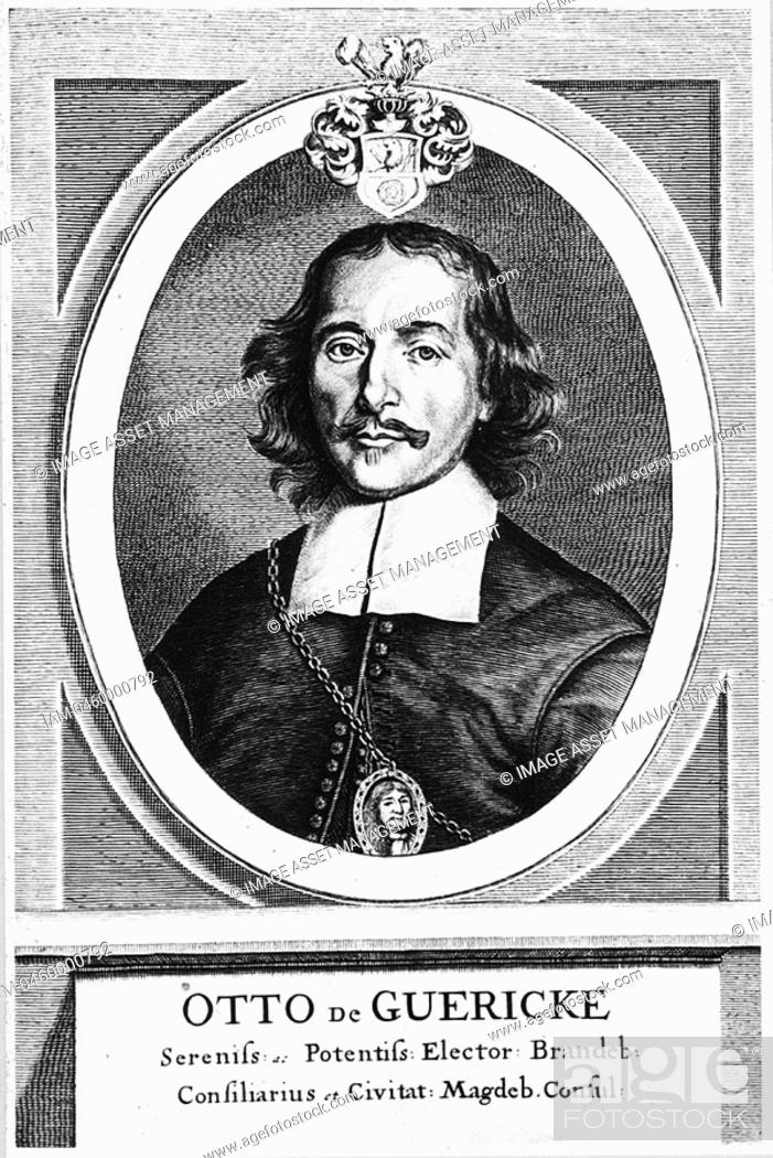 Stock Photo: Otto von Guericke 1606-1686, German inventor, engineer and physicist, c1672  Portrait from his 'Experimenta Nova, ut vocant, Magdeburgica.