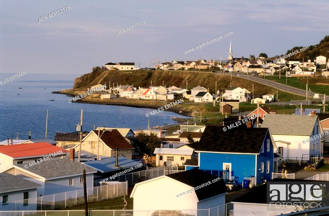 Stock Photo: Overview of town of Sainte Anne des Monts, Gaspe Peninsula, Quebec, Canada.