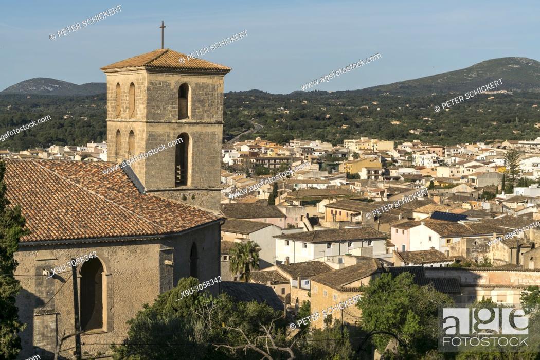 Stock Photo: city view with Parish church of Transfiguracio del Senyor, Arta, Majorca, Balearic Islands, Spain.