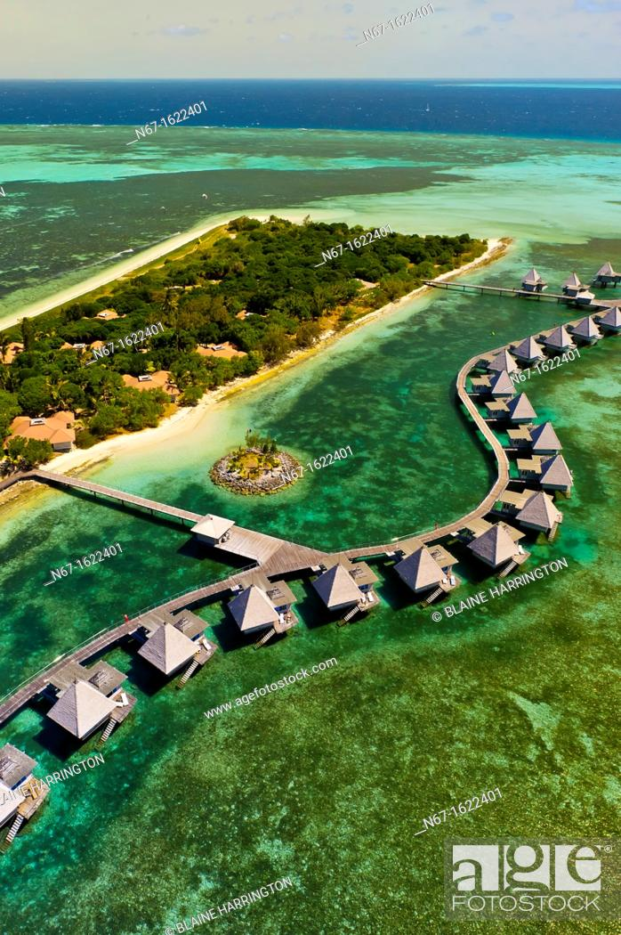 Stock Photo: Aerial view, bungalows, L'Escapade Island Resort, Wing Island, on the New Caledonian Barrier Reef, near Noumea, New Caledonia.