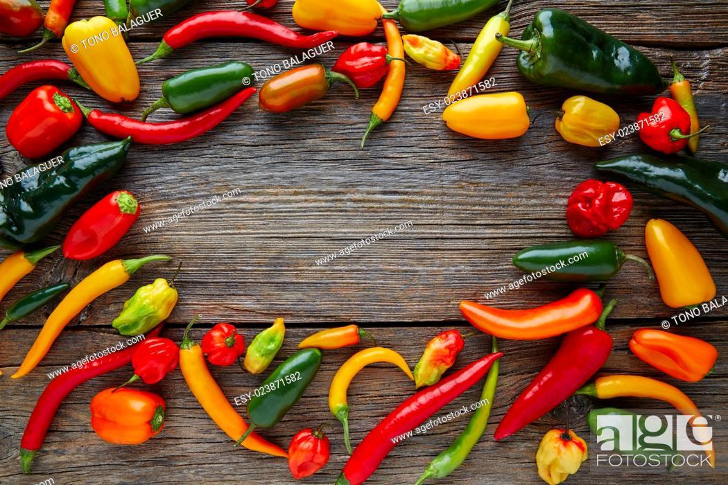 Stock Photo: Mexican hot chili peppers colorful mix habanero poblano serrano jalapeno on wood.