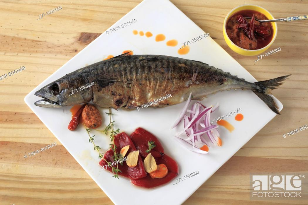 Stock Photo: Mackerel, fish, grilled, romesco sauce, peppers, red onion, garlic, .
