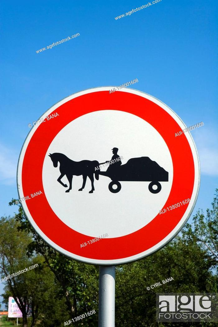 Stock Photo: Bulgaria - North-West Region - Rhodope Mountains - Traffic sign.
