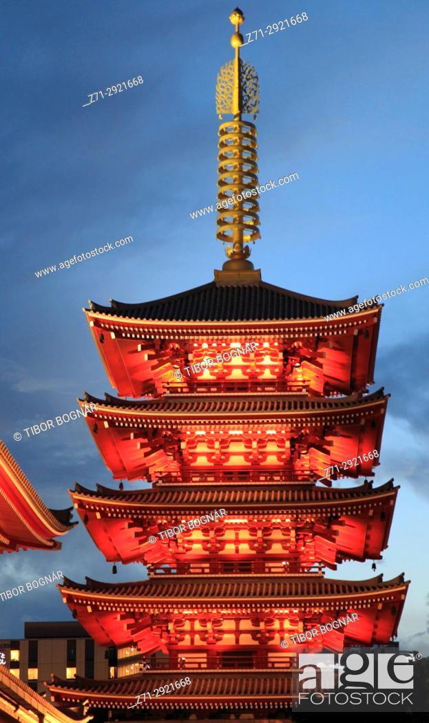 Stock Photo: Japan, Tokyo, Asakusa, Sensoji Temple, Five-story Pagoda,.