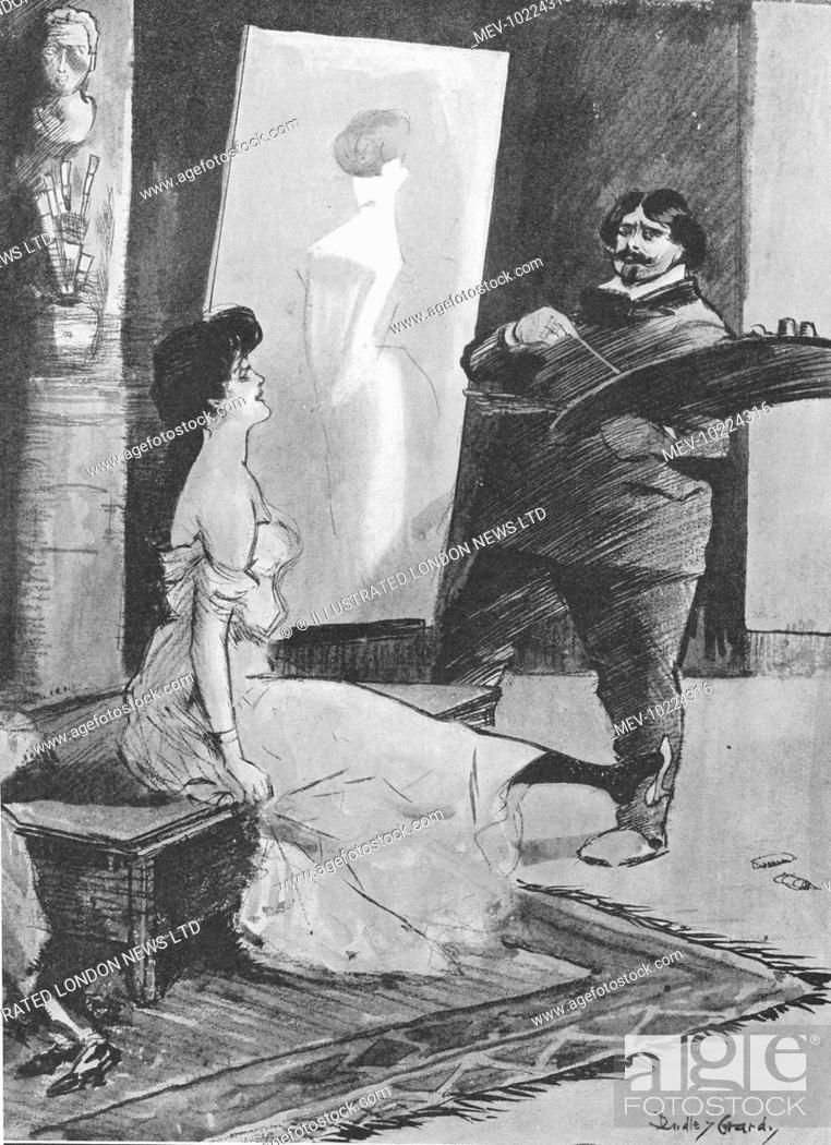 Stock Photo: Humorous sketch by Dudley Hardy showing a frustrated artist trying to deal with a cheeky model.  Artist (to refractory model): Do sit still! You are a little.