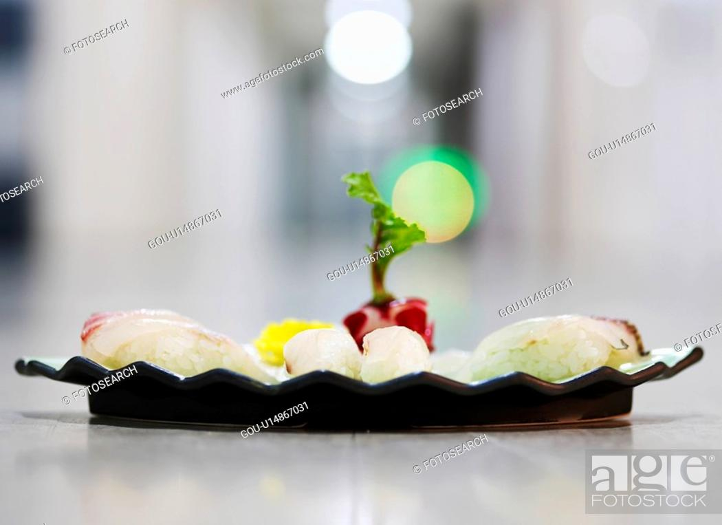 Stock Photo: cuisine, plate, food, decoration, food styling, sushi plate.