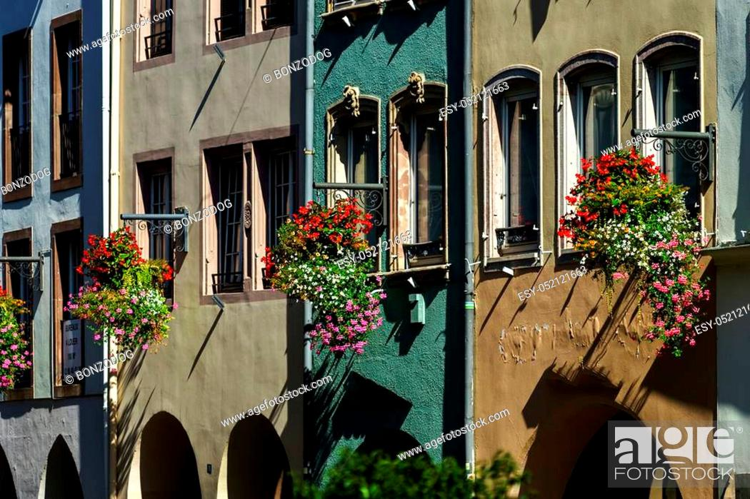 Stock Photo: Sunny day on the street of old center, Strasbourg, touristic concept.