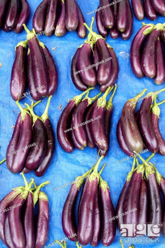 Stock Photo: aubergine display in local market, asia.