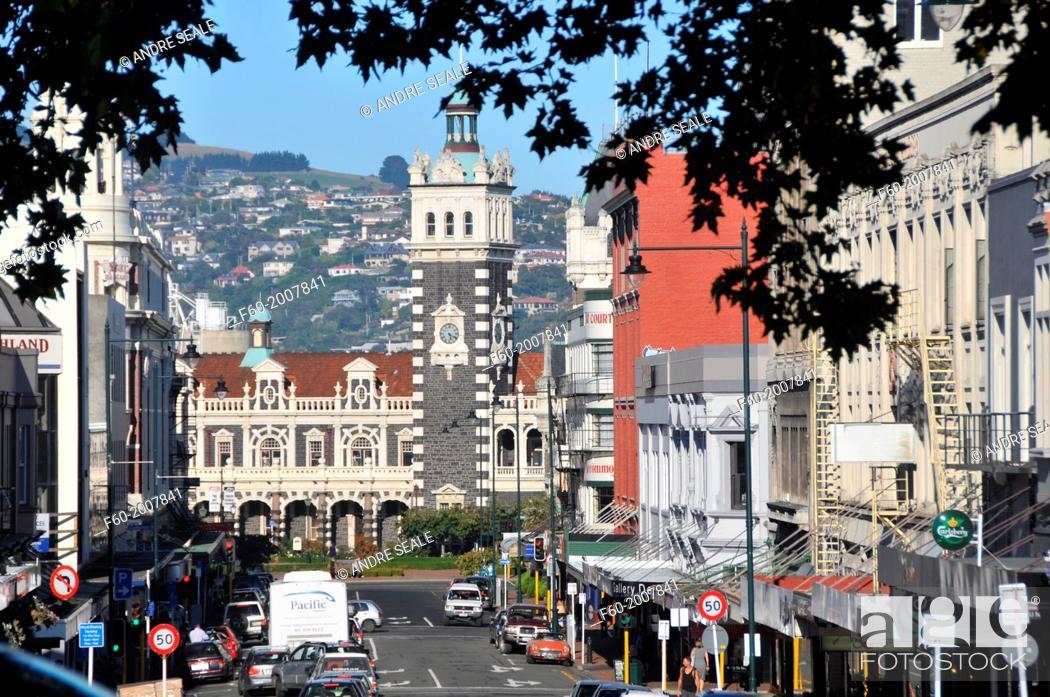 Stock Photo: Downtown Dunedin, Otago, South Island, New Zealand.