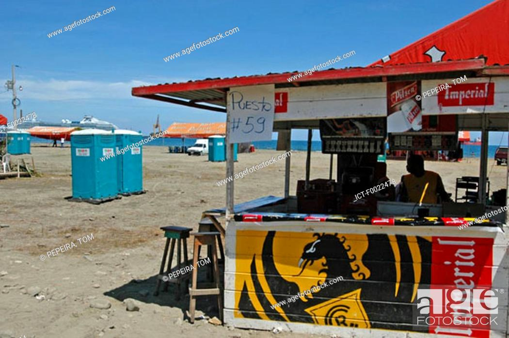 Stock Photo: Costa Rica, Puerto Limon, during carnival, beach bar.