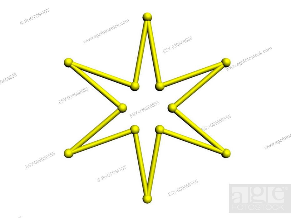 Stock Photo: An illustration of a 6-pointed star on a white background.
