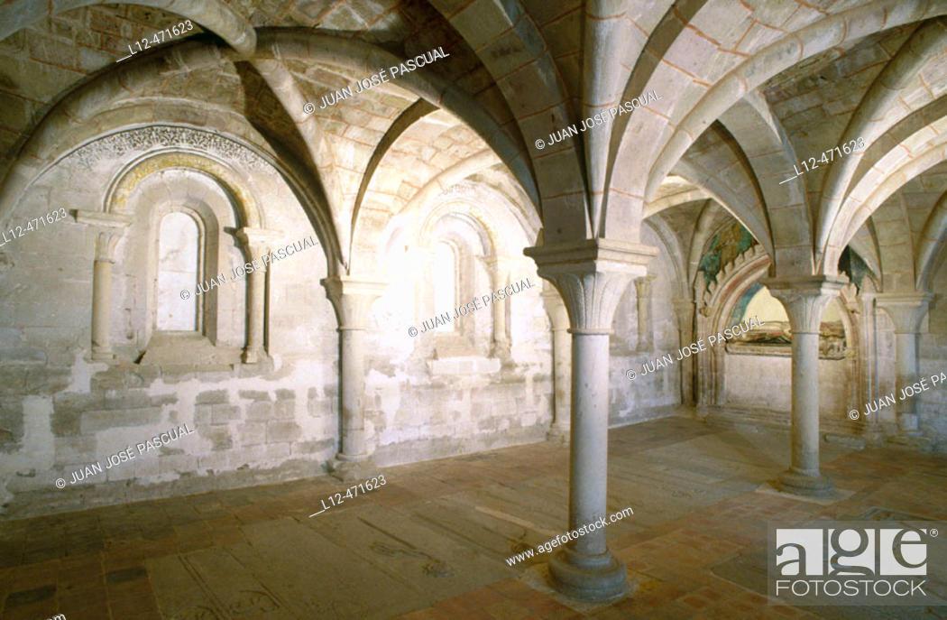 Stock Photo: Chapter room of the monastery of Veruela, Vera de Moncayo. Zaragoza province, Aragón, Spain.