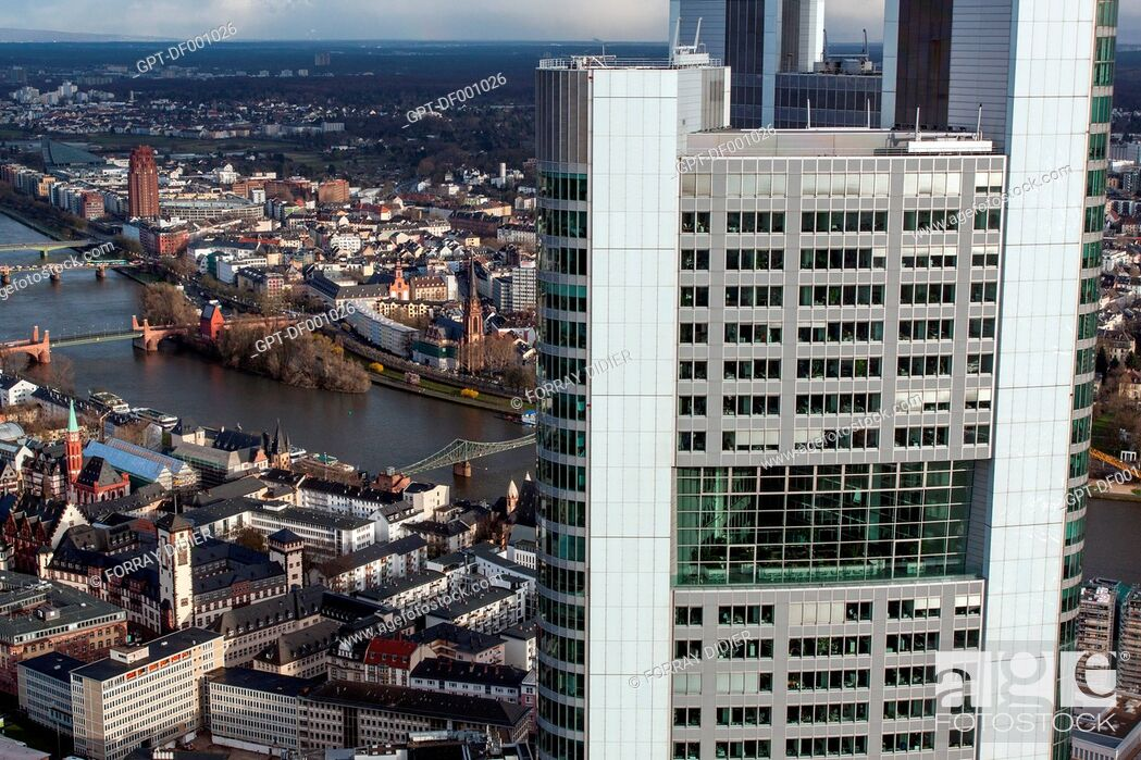 Stock Photo: VIEW OF THE OLD TOWN OF FRANKFURT, THE MAIN RIVER AND THE HEADQUARTERS OF THE GERMAN BANK COMMERZBANK IN THE FOREGROUND, SEEN FROM THE OBSERVATORY SITUATED AT.