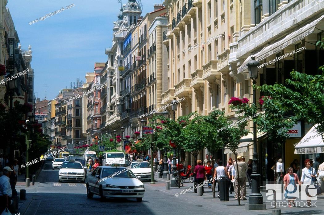Stock Photo: Spain - Madrid - Puerta del Sol - Calle Mayor - main - street.