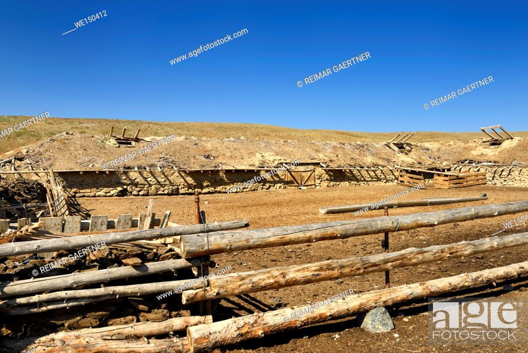 Stock Photo: Cattle pen with earthen roof stable at Black Canyon Charyn river Kazakhstan.