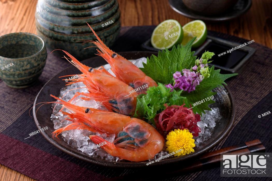 Stock Photo: Sashimi of ama-ebi.